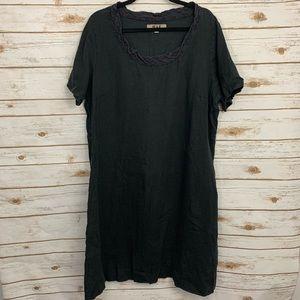 Flax Black 100% Linen Lagenlook Shirt Dress